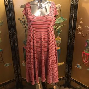 Large striped open back dress